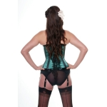 Candystripe Green and Black Satin Corset