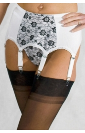 NDL4 6 strap suspender belt with black lace panel