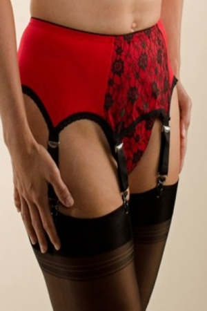 NDL4 Red 6 strap suspender belt with black lace panel*