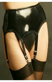 NDL53  Black 6 strap PVC suspender belt